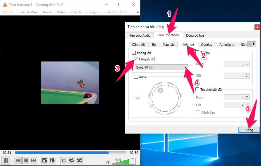 Chọn tab Hiệu ứng video -> Hình họa, tích vào phần chuyển đổi sau đó chọn Quay 90 độ hoặc 180 độ để xoay video