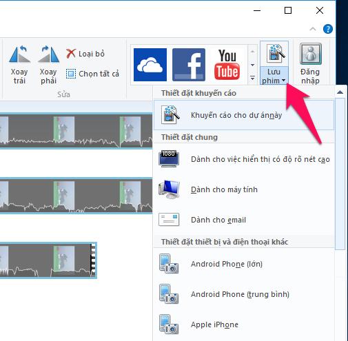 Nhấn nút mũi tên bên phải phần Lưu phim để chọn định dạng lưu video