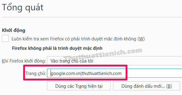 Cách đặt nhiều trang web làm trang chủ