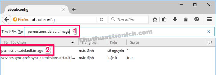 Nhấn đúp chuột vào tùy chọn permissions.default.image