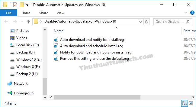 Chạy tập tin để thiết lập Windows Update theo ý bạn