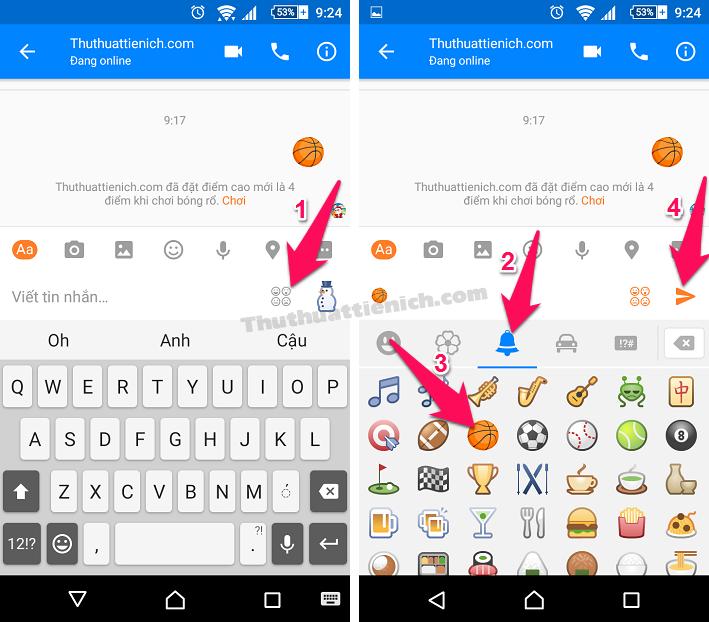 Cách để chơi game bóng rổ trong ứng dụng Messenger trên điện thoại Android