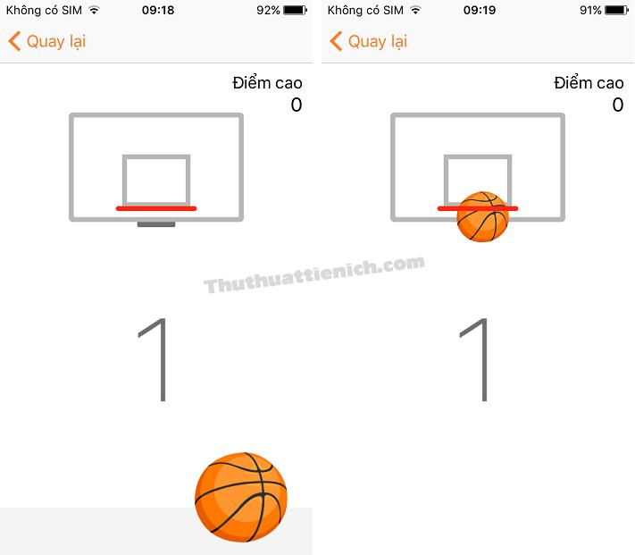 Giao diện game bóng rổ
