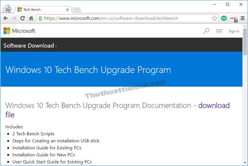 Trang Tech Bench chuyên cung cấp các bộ cài đặt Windows của Microsoft