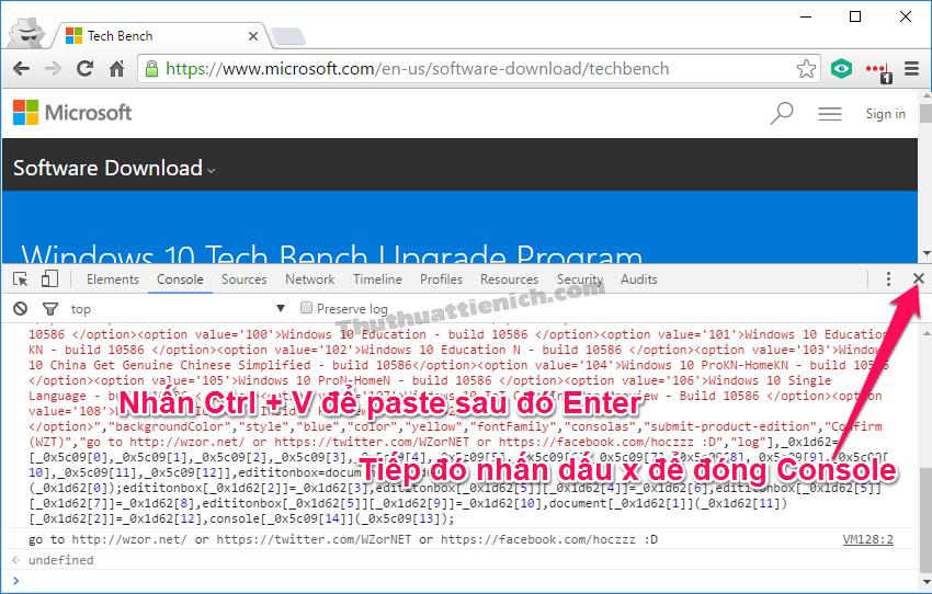 Nhấn Ctrl + V để paste (dán) đoạn mã vừa copy sao đó nhấn phím Enter