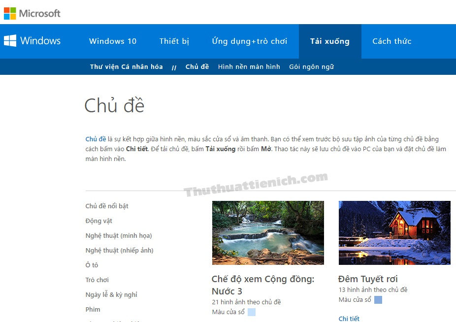Lúc này bạn sẽ được đưa đến trang download giao diện cho Windows 10