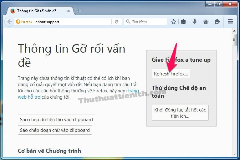 Nhấn nút Refresh Firefox...
