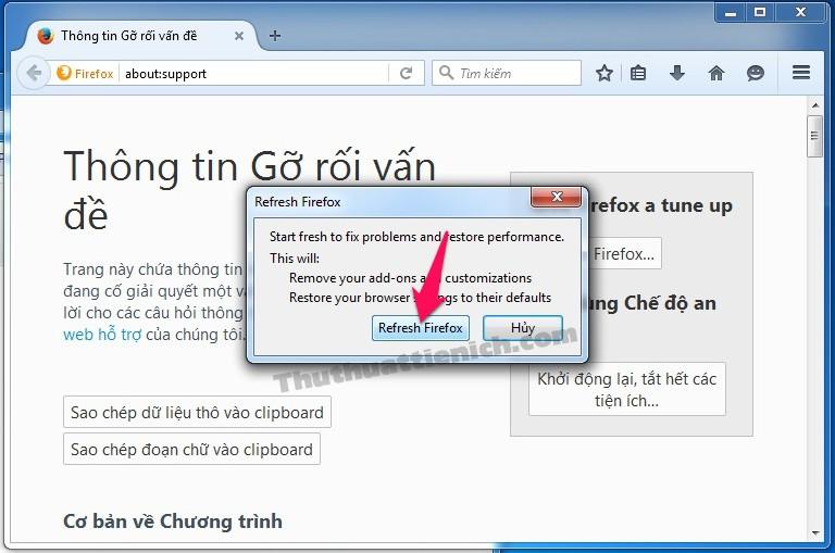 Nhấn nút Refresh Firefox