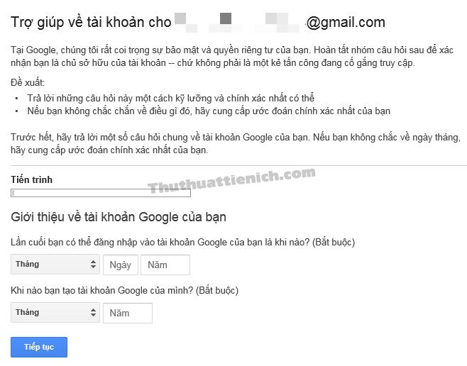 Lưu lại các thông tin về việc đăng ký Gmail