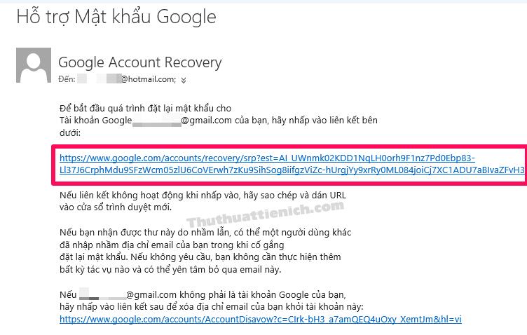 Nhấn vào liên kết đặt lại mật khẩu trong email của Google
