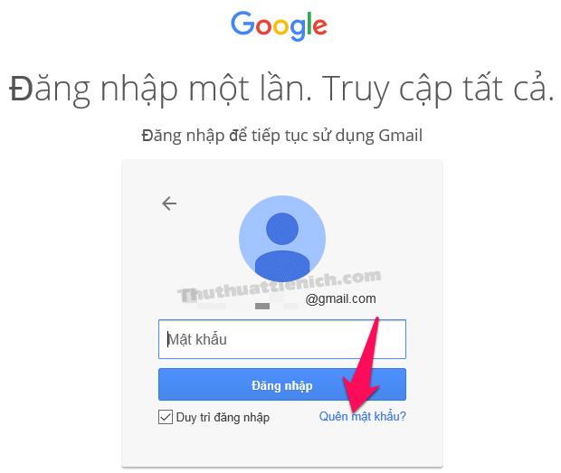 Nhấn vào dòng Quên mật khẩu