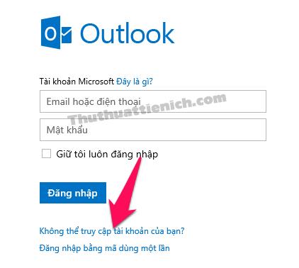 Nhấn vào dòng Không thể truy cập tài khoản của bạn?