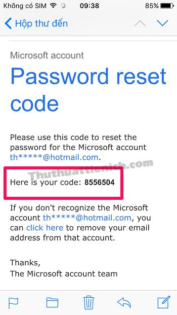 Kiểm tra email, lấy mã xác nhận