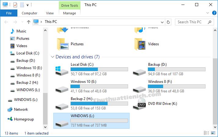 Dung lượng USB từ 7,2 GB bị giảm còn 737 MB