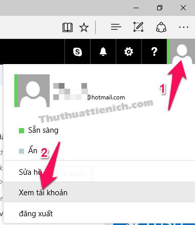 Tại hòm thư Outlook/Hotmail nhấn vào ảnh đại diện chọn Xem tài khoản