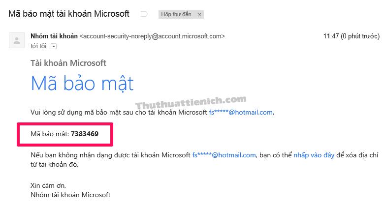 Kiểm tra email lấy mã xác nhận