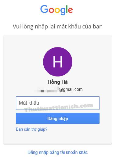 Nhập lại mật khẩu cho tài khoản Gmail