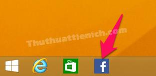 Biểu tượng của ứng dụng Facebook xuất hiện trên thanh taskbar