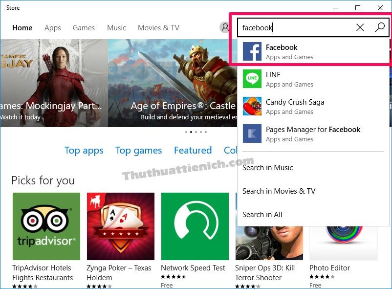 Nhập từ khóa vào khung tìm kiếm để tìm ứng dụng Facebook