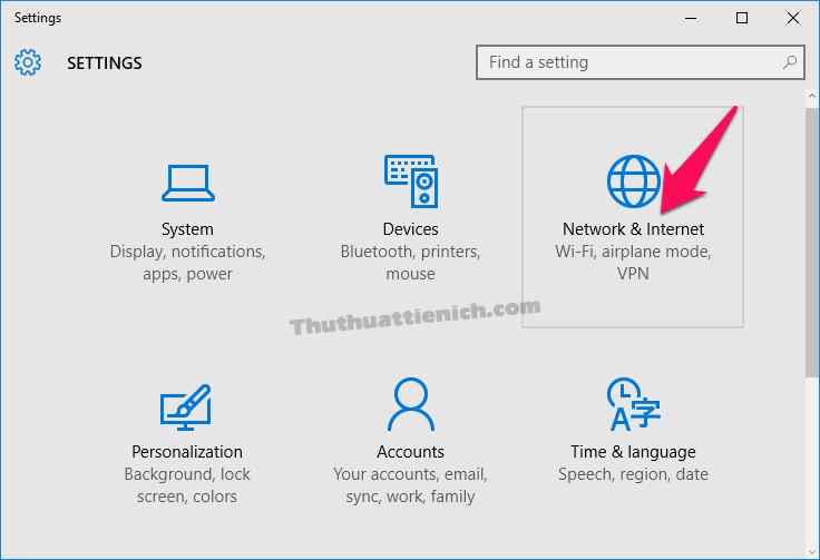 Chọn Network & Internet