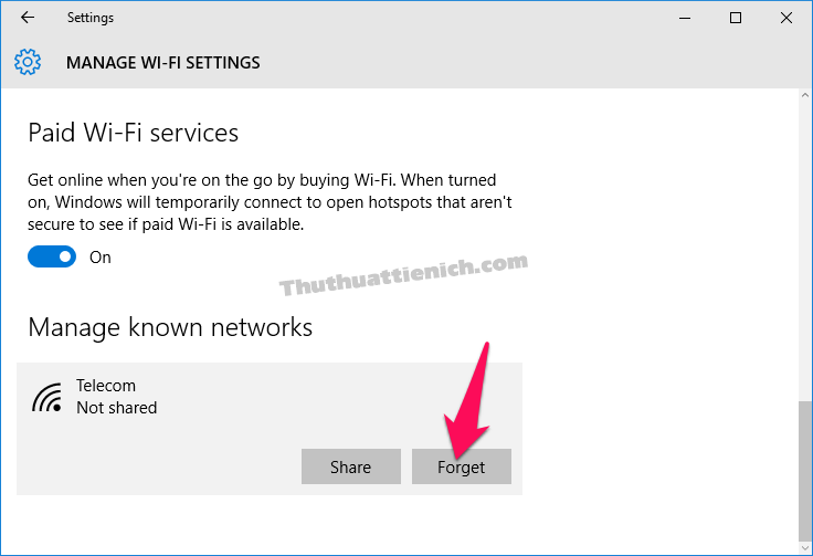Tìm đến phần Manage known networks, nhấn vào mạng Wifi muốn xóa chọn Forget