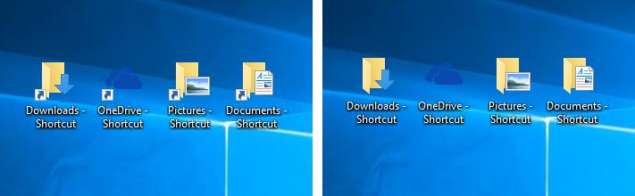 Trước và sau khi xóa nút mũi tên bên cạnh các biểu tượng Shortcut trên màn hình Desktop