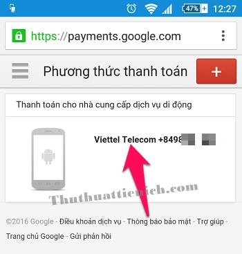 Nhấn vào tùy chọn Thanh toán bằng số điện thoại của bạn (Viettel Telecom +84...)