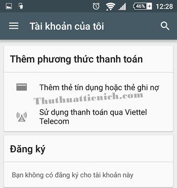 Phương thức thanh toán đã bị xóa trong cửa hàng Google Play