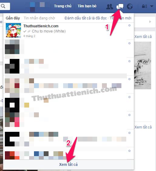 Mở Facebook của bạn, nhấn vào biểu tượng tin nhắn trên menu chọn Xem tất cả