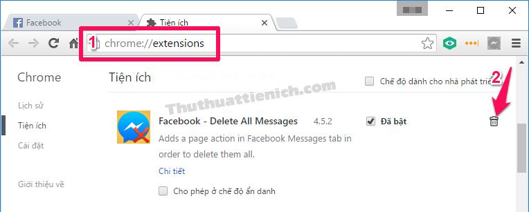 Cách xóa tiện ích Facebook - Delete All Messages