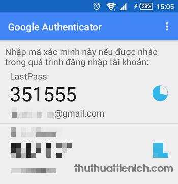 Lúc này Lastpass sẽ được thêm vào Google Authenticator