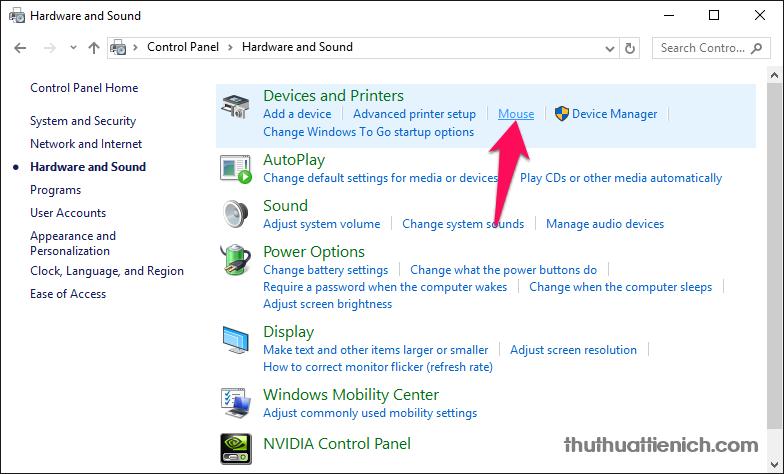 Nhấn vào tùy chọn Mouse trong phần Devices and Printers
