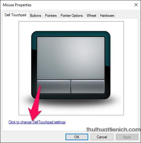 Nhấn vào dòng Click to change Dell Touchpad settings