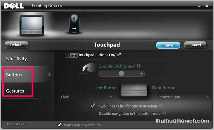 Các tùy chỉnh khác trong Touchpad settings