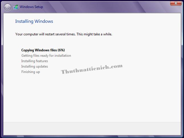 Bắt đầu quá trình cài đặt Windows