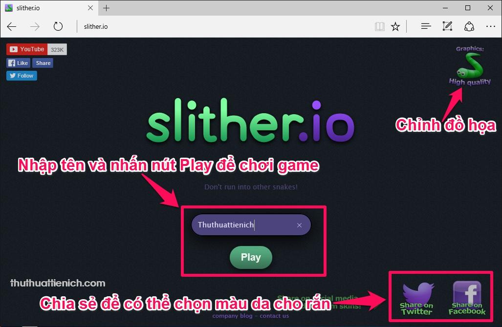 Giao diện trang chủ game trên web