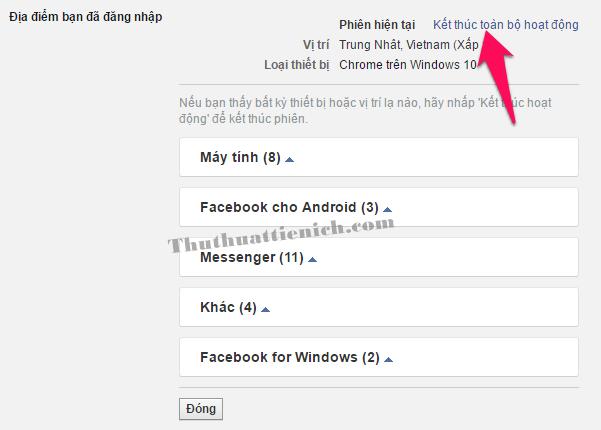Nhấn vào dòng Kết thúc toàn bộ hoạt động để đăng xuất Facebook khỏi toàn bộ các thiết bị đã đăng nhập
