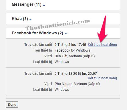 Để đăng xuất Facebook khỏi phiên hoạt động bất kỳ, bạn chỉ cần nhấn vào dòng Kết thúc hoạt động trong phần phiên đăng nhập đó