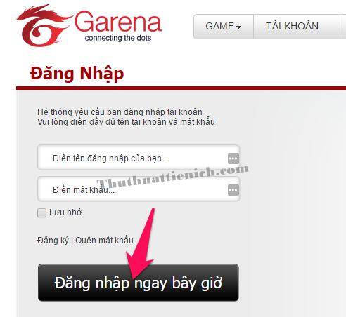 Đăng nhập với tài khoản Garena của bạn