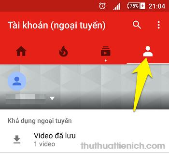 Mở ứng dụng Youtube -> Tài khoản -> Video đã lưu