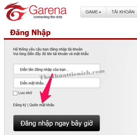 Nhấn vào dòng Quên mật khẩu bên dưới khung đăng nhập