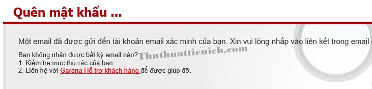 Garena thông báo đã gửi email đặt lại mật khẩu cho bạn