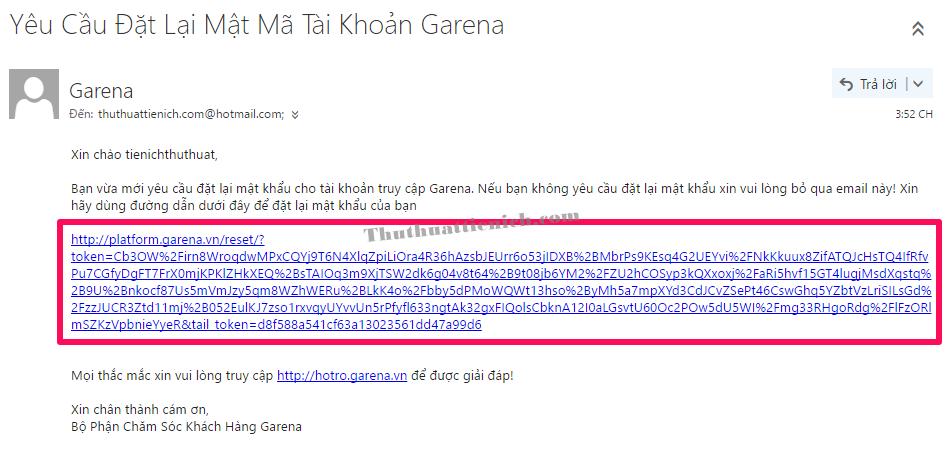 Đăng nhập email, nhấn vào liên kết trong thư Garena gửi cho bạn