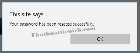 Thông báo mật khẩu Garena của bạn đã được đặt lại thành công