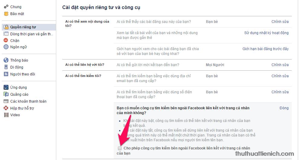 Bỏ dấu tích trong phần Cho phép công cụ tìm kiếm bên ngoài Facebook liên kết với trang cá nhân của bạn