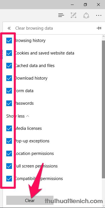 Tích hết vào các phần trong cửa sổ Clear browsing data này rồi nhấn nút Clear