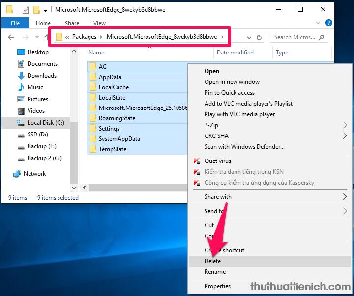 Bạn mở thư mục Microsoft.MicrosoftEdge_8wekyb3d8bbwe và xóa hết tất cả trong thư mục này