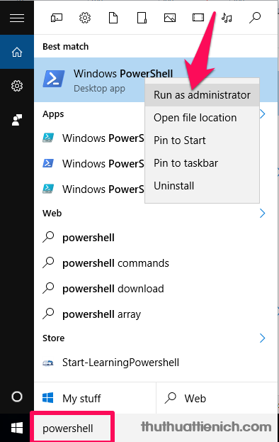 Mở Windows PowerShell với quyền Admin