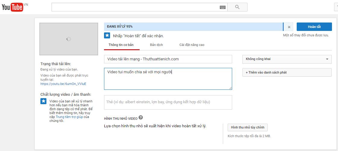 Bắt đầu quá trình tải video lên Youtube