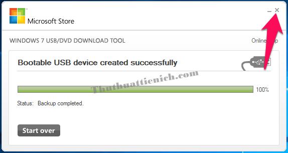 Tạo USB cài đặt Windows thành công